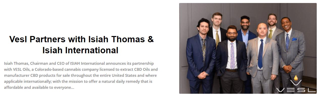 vesl cbd partners with Isiah Thomas